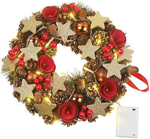 Britesta Türkranz Weihnachten: Weihnachtskranz, 20 warmweiße LEDs, Timer, batteriebetrieben, 28 cm (Türkranz Weihnachten beleuchtet)