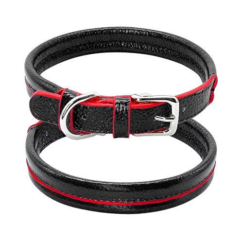 HFDDF Collar De Perro, para Pequeños Perros Medianos Gatos Negro Rosa Azul Marrón XS-M Cuero Cuero Collar De Perro Suave Acolchado Collar De Cachorro,Negro,32~40CM