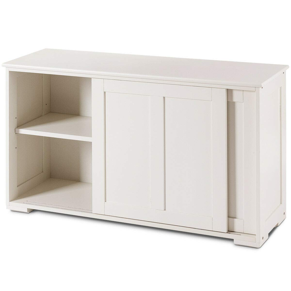 White Cupboard with Doors and Shelves Display Storage Cabinet Sideboard Bookcase