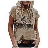 Vintage T-Shirt Kitz Landschaft Drucken Damen Crewneck Kurzarm Oberteil Sommer Casual Bluse Frauen Basic Elegant T Shirt Mode Slim-Fit Freizeithemd Strandurlaub Hemd Retro Dschungel Muster Top Tops