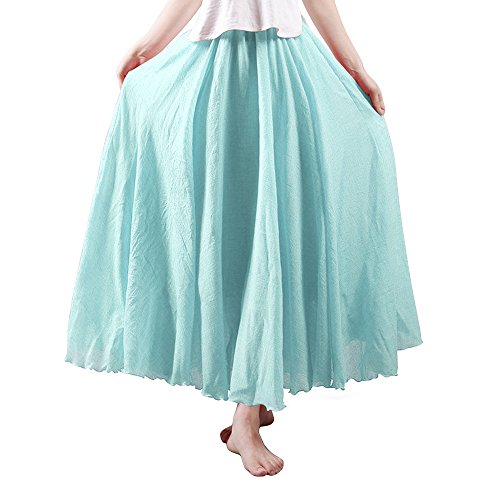 OCHENTA Women's Light Bohemian Flowy Full Circle Long Maxi Skirt Water Blue 95CM