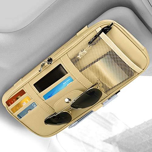 Organizer per parasole per auto, 2021 Nuova pelle per interni per auto Accessori per interni Tasca portaoggetti per visiera parasole Borsa per porta licenza per tessera Penna per banconote (Beige)