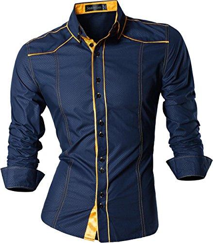 jeansian Herren Freizeit Hemden Shirt Tops Mode Langarmshirts Slim Fit Z034 Navy M