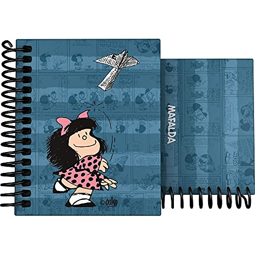 Mafalda 16532637. Cuaderno Pequeño A7, Espiral, Tapa Dura Cartón Forrado, Cuadricula 5x5, Tacto Suave, Certificado FSC, Colección Mafalda, Avión