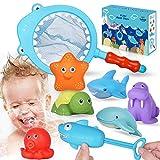 Lehoo Castle Baby Badespielzeug, Badewanne Spielzeug Kinder, Badespielzeug mit Fischernetz