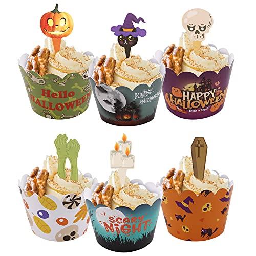 Halloween foremki do babeczek dekoracje do ciasta, 24 szt. foremki do babeczek czarodzieja babeczek topper duch dynia ciasto dekoracja do muffinek herbatników Halloween pająk impreza