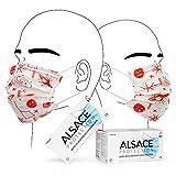 Boîte de 50 Masques Chirurgicaux - Fabriqué en France - Blanc - Motif Univers Rouge - 3 Plis - Type IIR