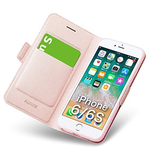 iphone6sケース iphone6ケース 手帳型 薄型 スマホケース PUレザー 全面保護 耐衝撃 カード収納 マグネット付き スタンド機能 シンプル おしゃれ (アイフォン6sケース/アイフォン6ケース ローズゴールド)