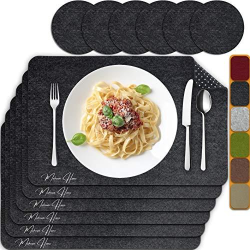 MAHEWA 6er Set Premium Tischset Platzset aus Filz rutschfest Ab-waschbar und Waschmaschinenfest Eckige Platzdeckchen Teller-Untersetzer Filzset Tisch-Matten Platz-Matten (Anthrazit/Weiß, 6er Set)