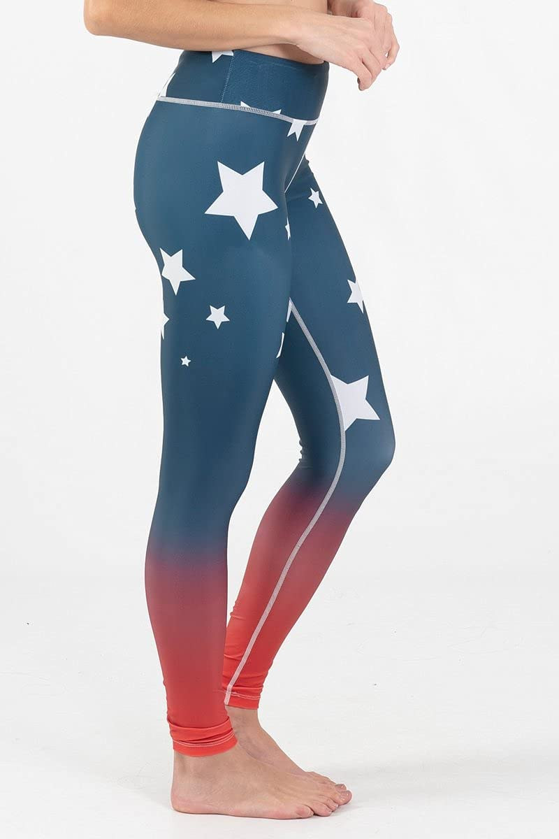Wave Albuquerque Mall New color Life Red White Blue AMERICAN Size S LEGGING SALUTE ACTIVE