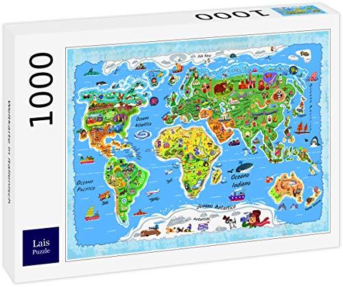 Lais Puzzle Mappa del Mondo in Italiano 1000 Pezzi