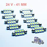 G-V 10x Bombillas LED Camiones C5W 24V 41MM White 6000K Lamp Lorry Truck LKW 41 Festoon SV8.5
