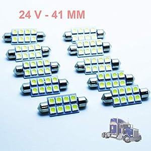 G-V 10x Bombillas LED Camiones C5W 24V 41MM White 6000K Lamp Lorry Truck LKW 41 Festoon SV8.5