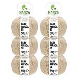 HANSA-FARM 100% Lana de Alpaca en más de 50 Colores (no Pica) - Set de 300g (6X 50g) - Suave Hilo Baby de Alpaca para Punto y Ganchillo en 6 grosores Beige
