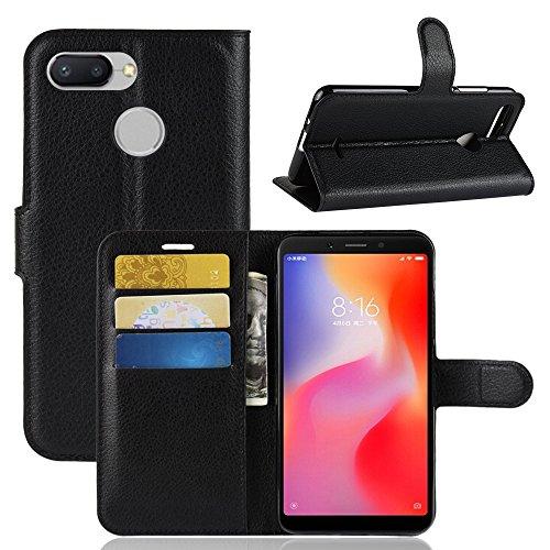 LAGUI Funda Adecuado para Xiaomi Redmi 6A, Carcasa Tipo Libro, Cubierta de Ranuras para Tarjetas, Caja de Soporte Horizontal y Solapa con Cierre magnético, Caso Que Protege Todo el teléfono. Negro