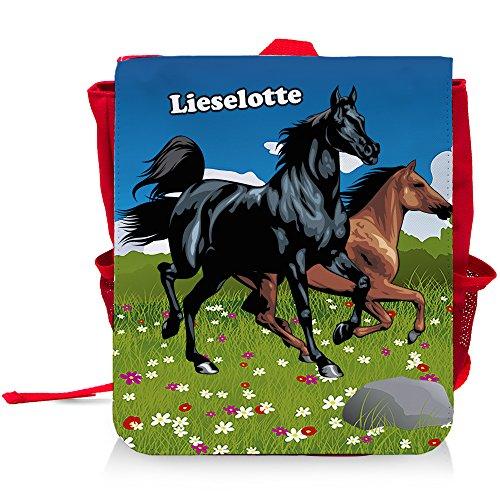 Kinder-Rucksack mit Namen Lieselotte und schönem Pferde-Motiv für Mädchen