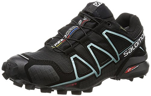 Salomon Women's Speedcross 4 GORE-TEX Trail Running Shoes, Black/Black/Metallic Bubble Blue, 10 M US