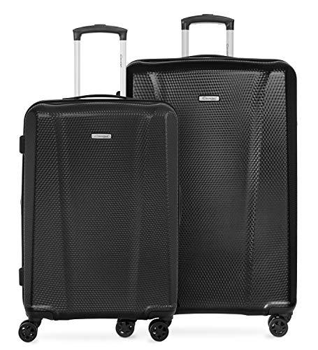 Cavalet Aicon - 2er Kofferset,  Check-in Gepäck mittelgroßer Koffer 66cm + 76cm großer Reisekoffer, Hartschale Polycarbonat, TSA, gummierte Spinner, Black