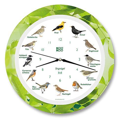 KOOKOO Singvögel Leaf, Die Singende Vogeluhr, mit 12 heimischen Singvögeln und echten, natürlichen Vogelstimmen, mit RC Funkquarzwerk und Lichtsensor