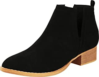 Cambridge Select Women's Closed Toe Side V Cutout Western Stacked Chunky Block Heel Ankle Bootie