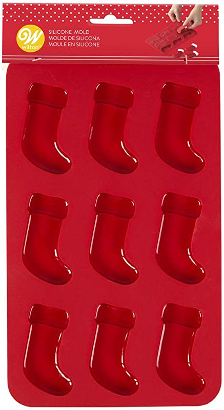 Wilton W8524 Silicone Candy Mold Christmas Stockings 9 Cavity 1 Design