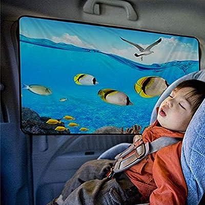 BRIGADA Car Sun Shade Auto Rear Side Window Sunshade for Baby Cartoon Magnetic Universal Sunscreen Foldable Curtains Visor Protect Baby Child Kids from The Harmful UV Rays & Bright Sunligh