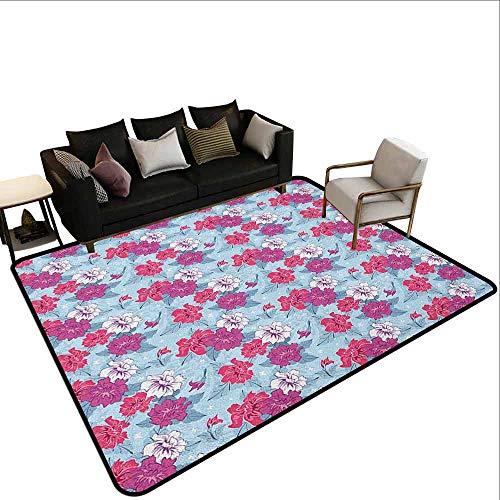 Outdoor tapijt Bloemen,Kleurrijke Lente Thema met Zonnebloemen Daisy Kamille Bloemblaadjes Zomer Bluebells Motif, Multi kleuren