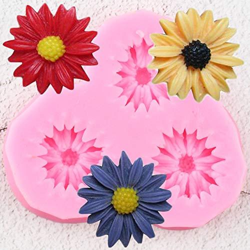 GMTEXTILES Gänseblümchen Blume Silikonform DIY Sonnenblume Cupcake Topper Fondant Kuchen Dekorationswerkzeuge Candy Clay Schokoladen Gumpaste Formen