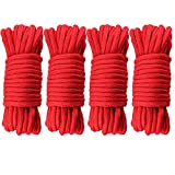 G2PLUS 40M Red Soft Cotton Rope 8 MM Thick Rope Cord Cotton Twisted Cord