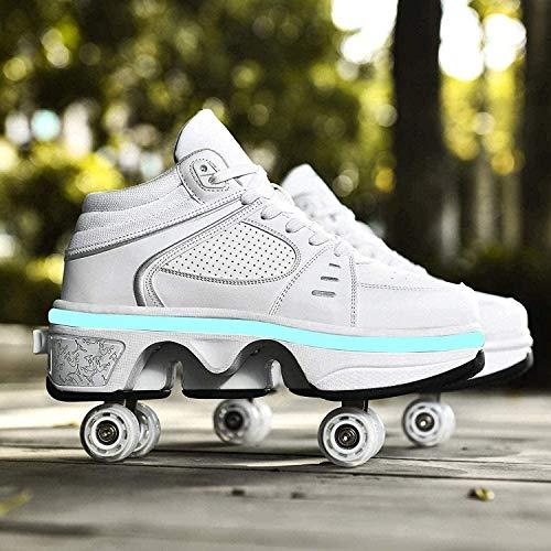 Zapatillas De Patinaje sobre Ruedas Zapatillas Multifuncionales 2 En 1 Zapatillas De Skate Ajustables Zapatos con Luces LED,White High Top-42