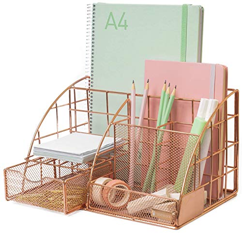 Rosework Rose Gold Desk Organizer - Extra Large, All In One Desktop Organizer With More Space For Desk Accessories, Includes Pen Holder, Pencil Holder, Paper Organizer, Desk Drawer and More