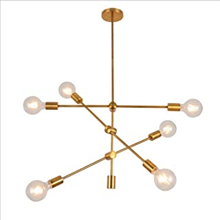 Wmind Magic Bean Geometric Line Chandelier, LED Electroplating Gold, Medieval Modern Lamps, Industrial Retro Ceiling Lights, Used in Restaurants, Bedrooms, Kitchens.
