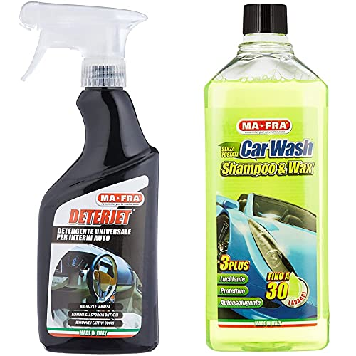 Ma-FraMafra, Deterjet, Detergente Sgrassatore Universale per La Pulizia delle Parti Interne Dell Auto & Mah0930 Carwash Shampoo E Cera per Auto, 1L Volume, Giallo Fluo