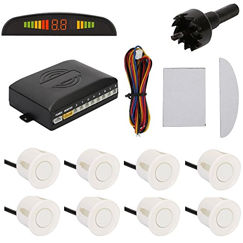 TKOOFN Highly Sensitive Buzzer Safety Alert Car Reverse Back Up Radar System with 8 Ultrasonic Parking Sensors [4 Front & 4 Rear]& LED Display for Universal Auto Vehicle - White