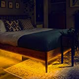 GZBtech LED Under Bed Lights Motion Sensor, 12V Automatic On/Off Dimmable LED Strip Night Light for Bedroom Under The Queen Bed, 3000K Warm White Motion Activated Bed Lighting, 2 x 6.56FT UL Listed