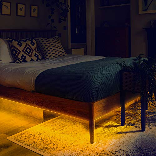 GZBtech Under Bed Lighting with Motion Sensor, 12V Automatic On/Off Motion Activated Bed Lights for Under The Single Bed, 3000K Warm White Dimmable LED Strip Night Light for Bedroom, 4FT UL Listed