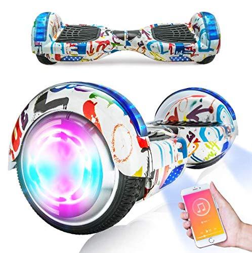 Hoverboards, Scooter autoequilibrado de 6.5'para niños, Scooter eléctrico Hoverboard Segway con Luces LED, Altavoz Bluetooth, Ruedas Intermitentes, los Mejores Regalos para niños (Pintada)