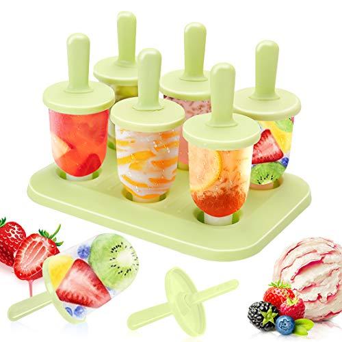 Eisform, 6 Eis am Stiel Formen Mini Popsicle Molds, DIY Ice Pop Lolly Popsicle Eisförmchen Wiederverwendbar Popsicle Sticks LFGB Geprüft und BPA Frei für Kinder, Baby, Grün