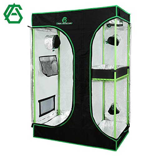 GA Grow Tent 24x24x48 36x36x72 40x40x80 Reflective Mylar Hydroponic Grow Tent with Observation Window and Waterproof Floor Tray for Indoor Plant Growing 2x2 3x3 4x4 (90X60X135 cm 2-in-1 Tent)