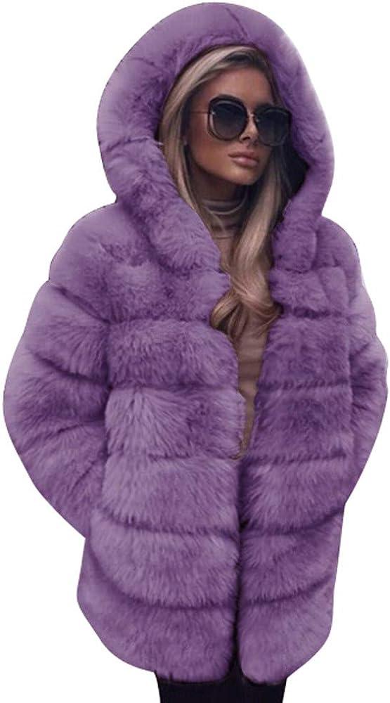 UOFOCO Womens Warm Faux Fur Coat Ladies Solid Jacket Winter Grad