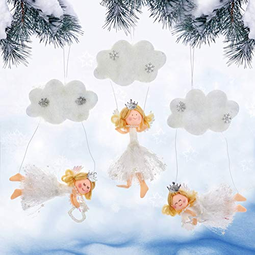 Set of 3 Christmas Woolen Angel Hanging Ornaments- Xmas Snow Clouds Angel Doll Pendants Christmas Elves Tree Decorations Hangable Angel Figurines for Christmas Tree Fireplace Decor Holiday Presents