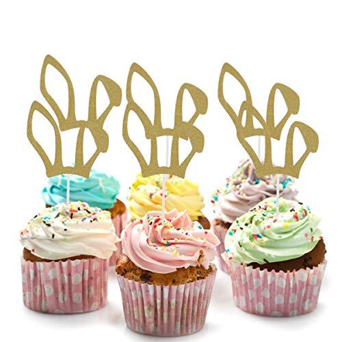 NSGJUYT 12 PCS Glitter Bunny Ear Cake Toppers Rabbit Cupcake Toppers Cake Picks Sticks for Easter Birthday Festival Party Decoration