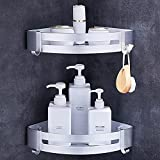 Estanteria de Ducha Sin Taladrar - Estanterias de Esquina 2 piezas para Baño - Cesto de Ducha de Aluminio Acabado Mate con 4 Ganchos (Plata)