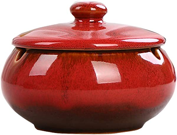 YANBA ANCHUANG Ceramic Ashtray With Lids Windproof Cigarette Ashtray For Indoor Or Outdoor Use Ash Holder For Smokers Desktop Smoking Ash Tray For Home Office Decoration Red