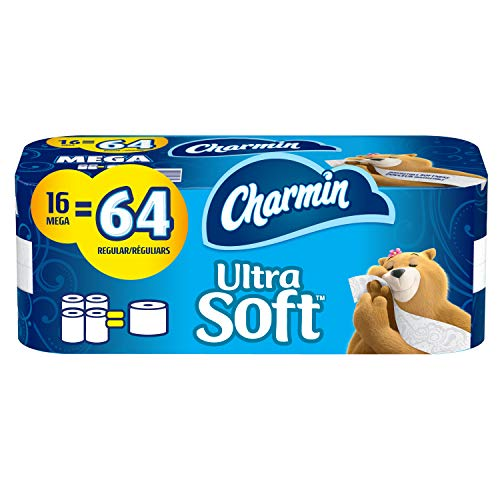 Charmin Ultra Soft Toilet Paper, 16 Mega Rolls Bathroom Tissue = 64 Regular Rolls