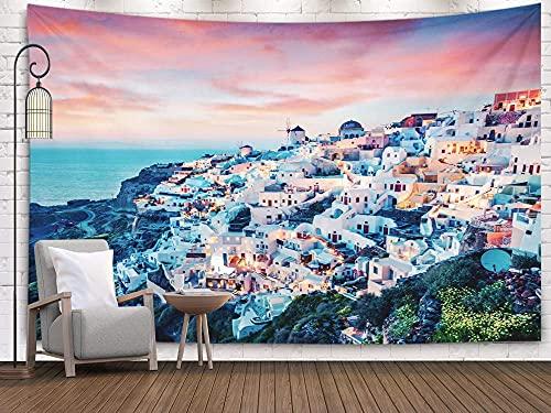 Increíble paisaje marino, tapiz de dormitorio, tapiz para colgar en la pared, tapices Deacutecor, sala de estar, dormitorio para el hogar, interior, impreso para la vista nocturna de la isla de Santor