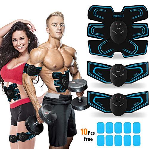 zociko EMS Trainingsgerät Bauchmuskeltrainer Muskelstimulator ABS Stimulator EMS Elektrostimulation Muskel Trainer für Arm Bauch Beine zur Muskelaufbau und Fettverbrennung mit 10 PC Gel-Auflagen