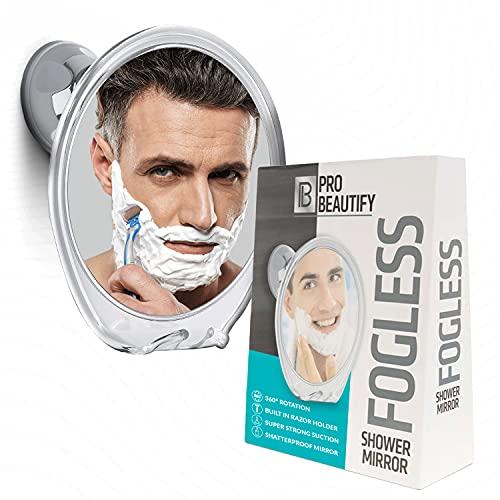 Probeautify Fogless Shower Mirror for Shaving - Strong Suction Cup, Razor Holder & 360 Degree Rotation Shower Shaving Mirror - Fog Free Mirror for Shower & Shaving Mirror - Men & Women