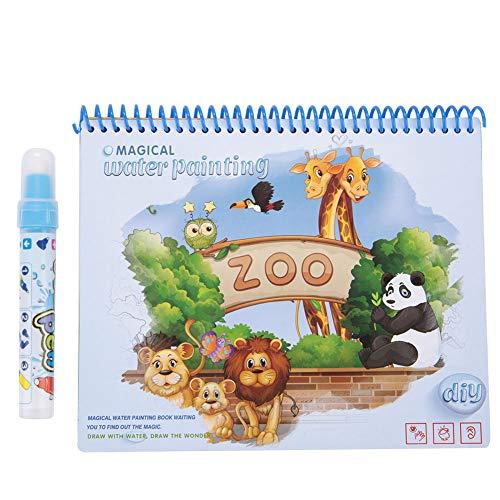 Libri da disegno ad acqua, libri da colorare con doodle d'acqua riutilizzabili Giocattolo per l'educazione precoce per bambini dai 3 anni in su Bambini Bambini Ragazze e ragazzi(Zoo)