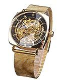 Forsining Reloj analógico mecánico de lujo automático transparente impermeable hombres relojes con oro flor movimiento negocio regalo